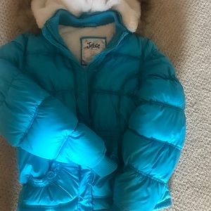 Girls teal Justice hooded puffer ski jacket